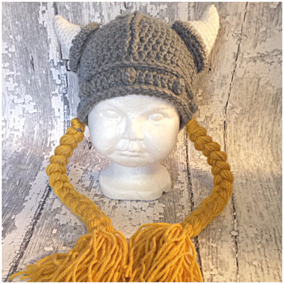 Barbarian Viking Beard Beanie Horn Crochet Hats Handmade Look4ward