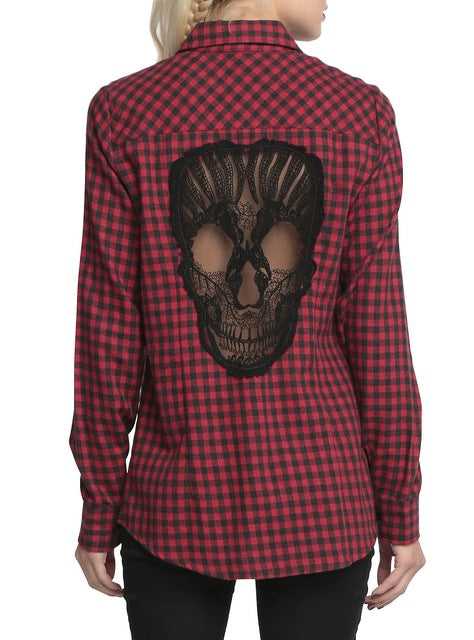 Skull Hollow Out Plaid Shirts