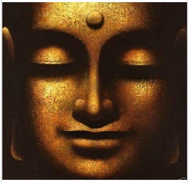 Handmade Wall Art Home Decoration Solemn Buddha Oil Painting Zen Face