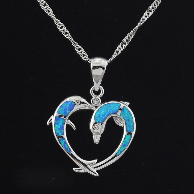 Heart Shaped Dolphin Blue Fire Opal Pendant Necklace Without The Chain