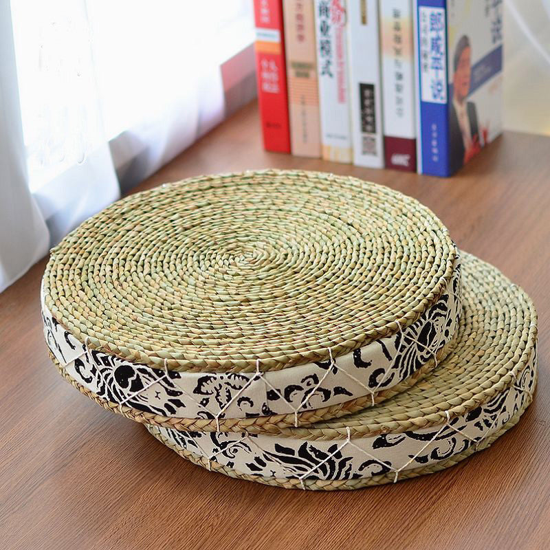 Handmade Cattail Mats Meditation Cushion/Straw Braid Japanese Seat Cushion/Tatami Futon Yoga Mat