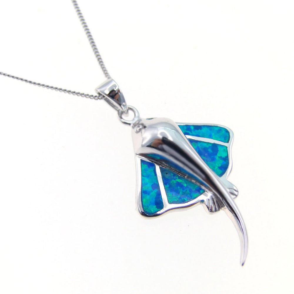 opal without silver sterling stingray blue products product chain image pendant necklace fire