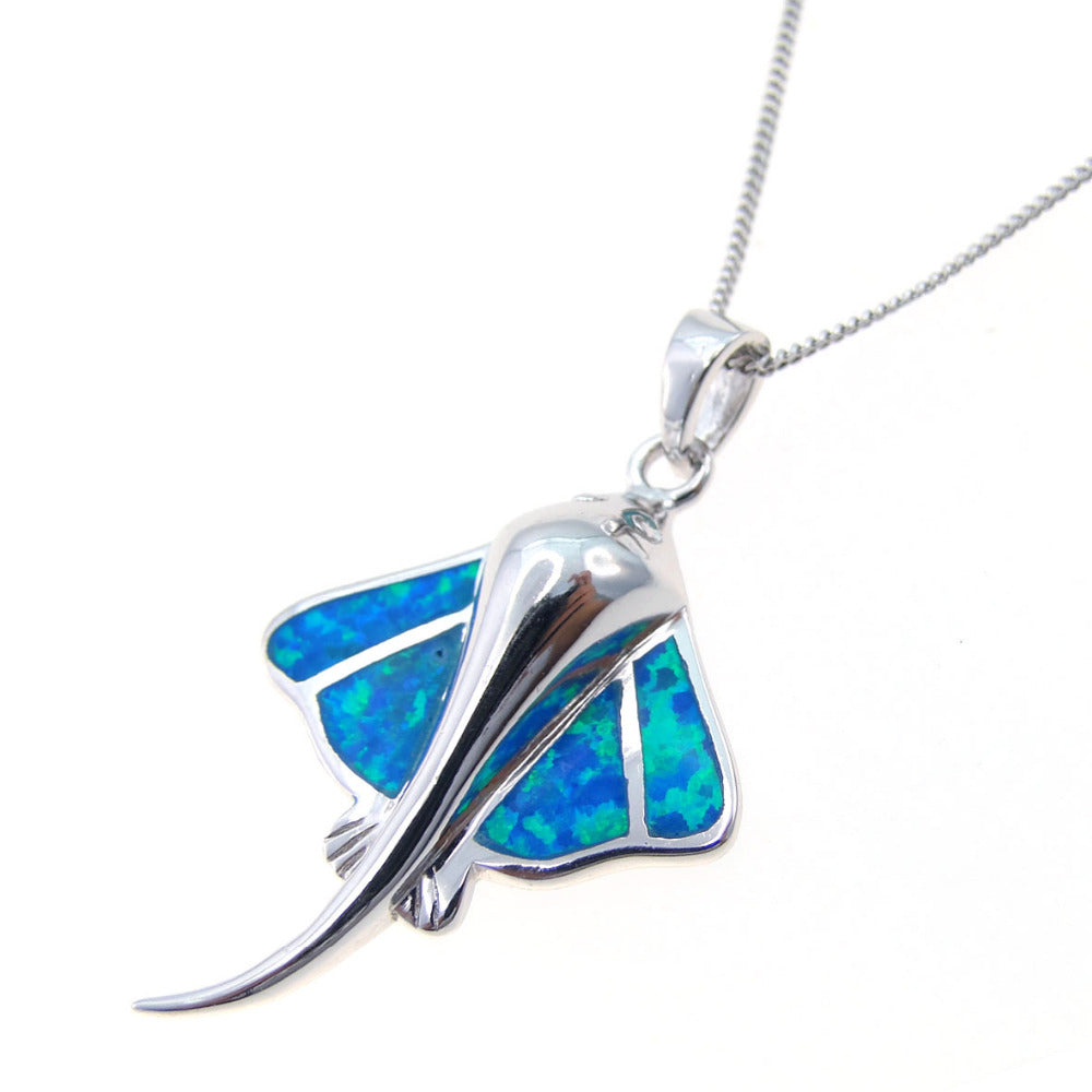 925 sterling silver stingray pendantblue fire opal pendant silver 925 sterling silver stingray pendantblue fire opal pendant silver pendant necklace without chain mozeypictures Gallery