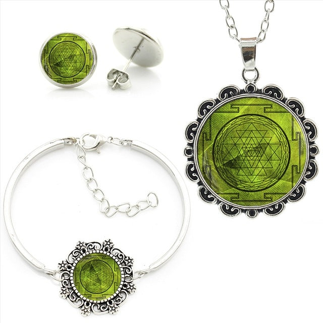 Vintage Dharma Wheel Jewellery sets Dharma Chakra Spiritual Necklace Earrings Bracelet Set