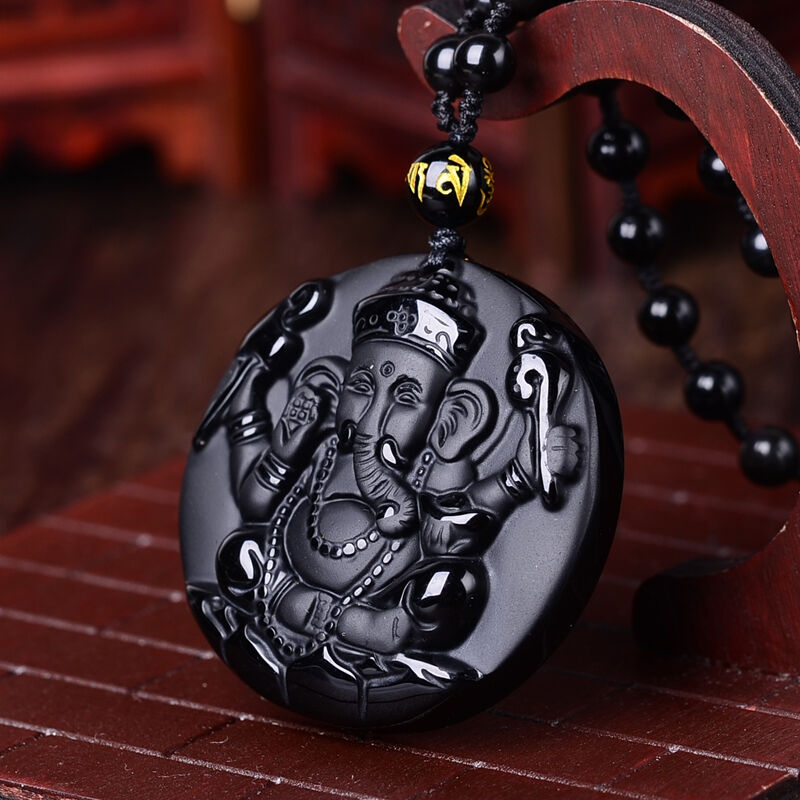 Natural Protective Obsidian Ganesh Elephant Pendant/Necklace-Hand Carved