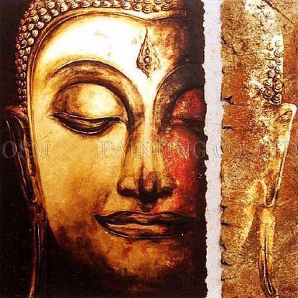 Handmade Abstract Portrait of Buddha Oil Painting on Canvas Modern Art Buddha Painting