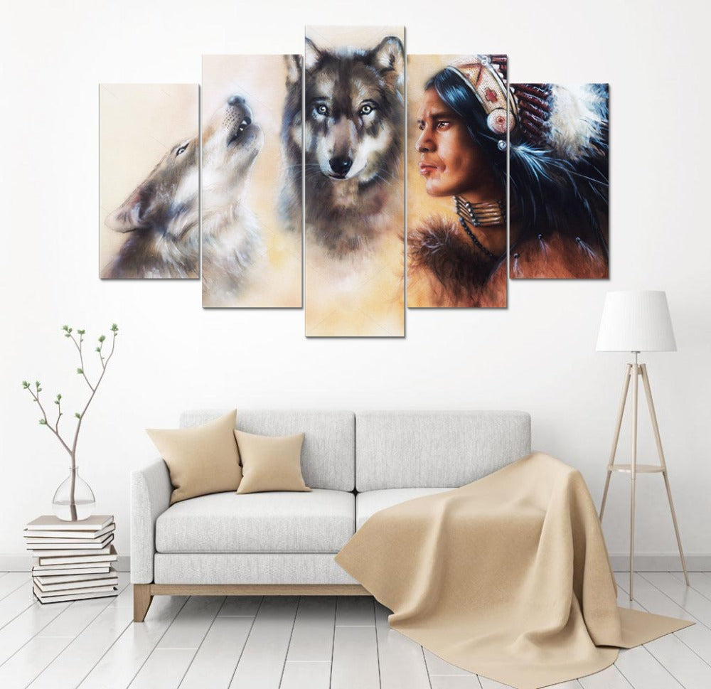 HD 5 Pcs Native American Wolfs Canvas Wall Art Painting