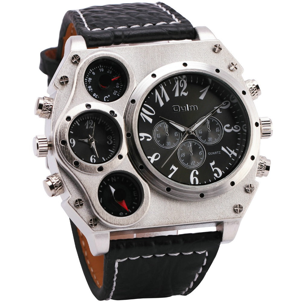 Mens Military Quartz Watches Python Grain Leather Strap Compass Thermometer 2 Time Zone Oversize