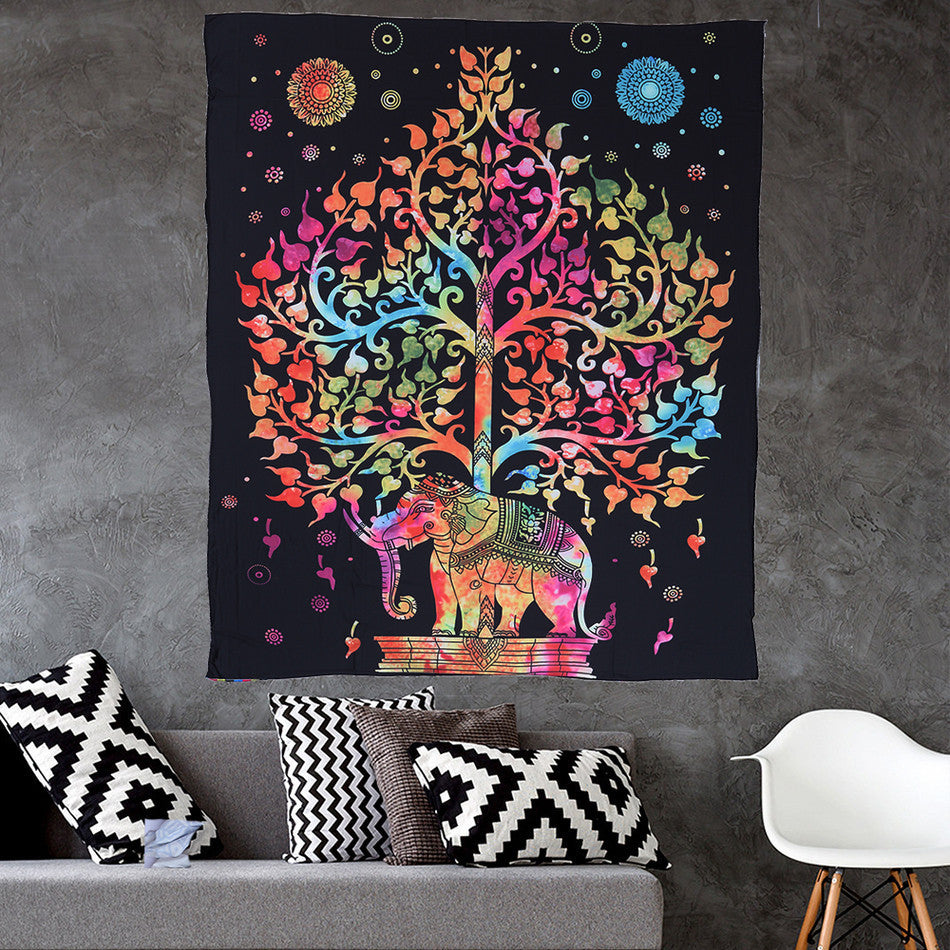 Indian Elephant/ Plain Mandala Throw Hippie Hanging Decorative Wall Tapestries