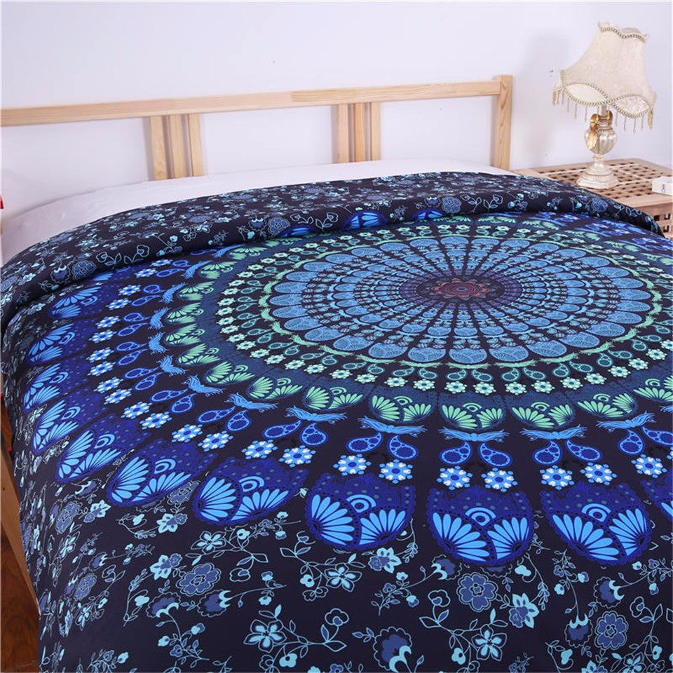 Mandala Bedding Set Bohemia Blue Duvet Cover Set Luxury - 4Pcs