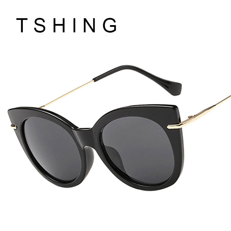 TSHING Vintage Fashion Women Cat Eye Sunglasses Retro Female Clear Candy Colour-UV400 Mirror