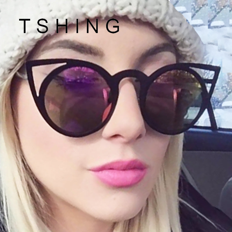 Women Fashion Round Lenses Cat Eye Sunglasses