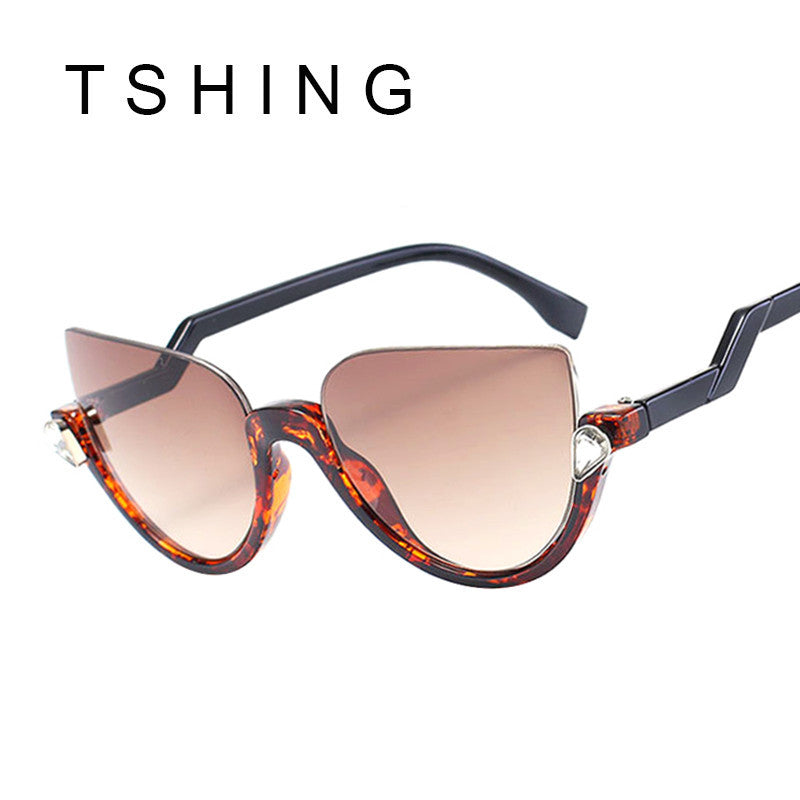 TSHING Fashion Half Frame Cat Eye Sunglasses 2017 New Women Mirror UV400