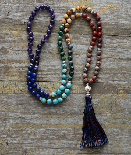 High Quality 7 Chakra Mala Unique Natural Stone Long Tassel Necklace/Yoga