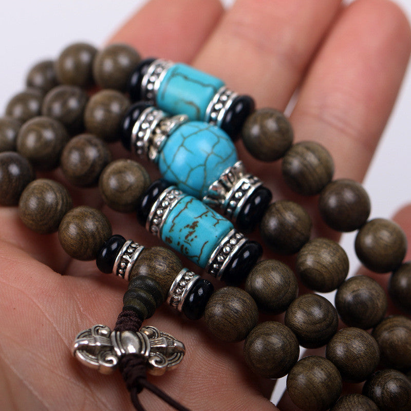 108 Tibetan Buddhist Handmade Natural Ebony Prayer Mala Beads