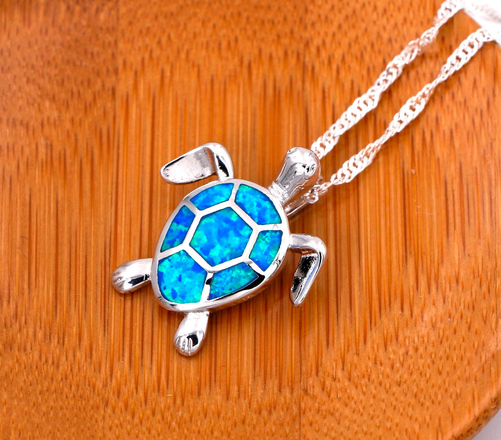 Cute Blue Fire Opal Sea Turtle Design Pendant Necklace