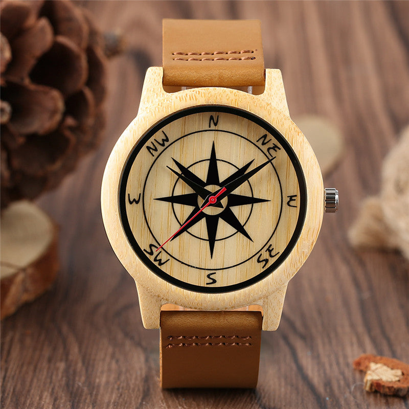 Handmade Sandalwood Compass Design Dial Wristwatch Genuine Leather Wrist-Band