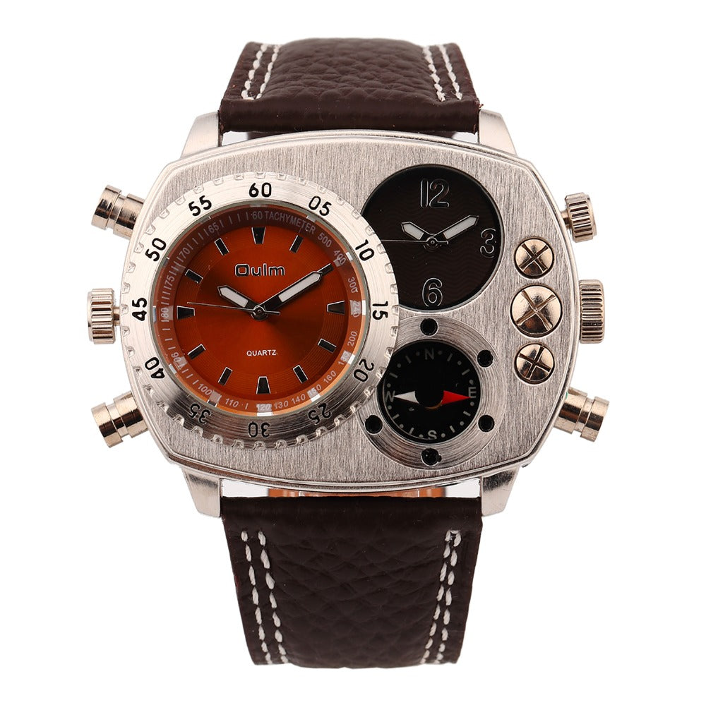 Mens Watches Trend Sports Compass Genuine Leather 2 Time Zone