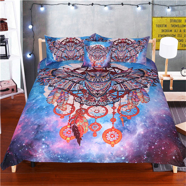 Owl Dreamcatcher Bedding Set/Watercolour Bohemia Duvet Cover with Pillowcases