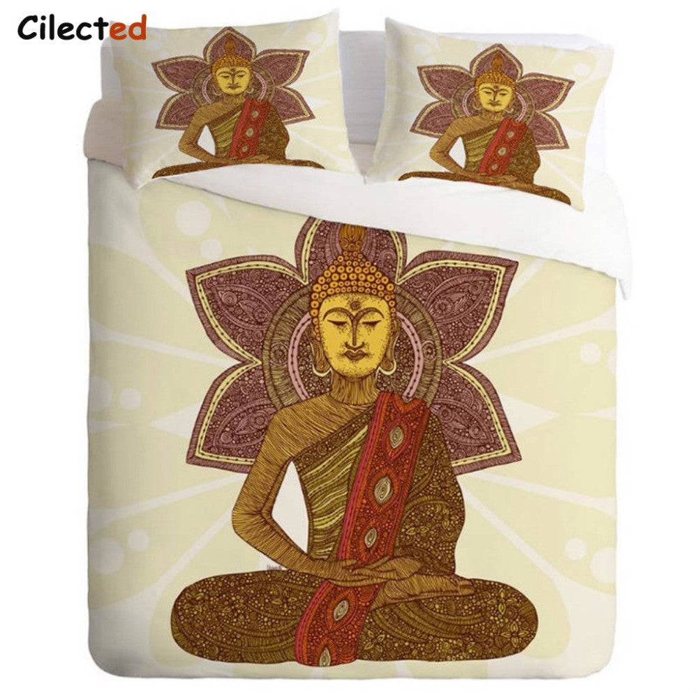 3 Pieces Buddha Bedding Mandala Duvet Cover Set With Pillowcases