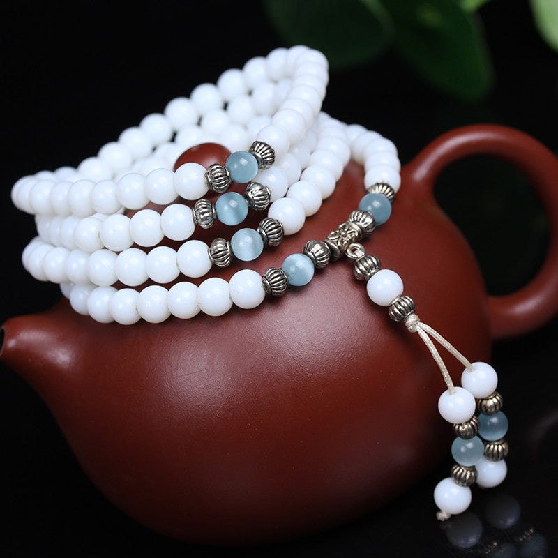 White Chalcedony Beaded  Stone Tibetan Buddhist 108 Prayer Beads Bracelet for Meditation