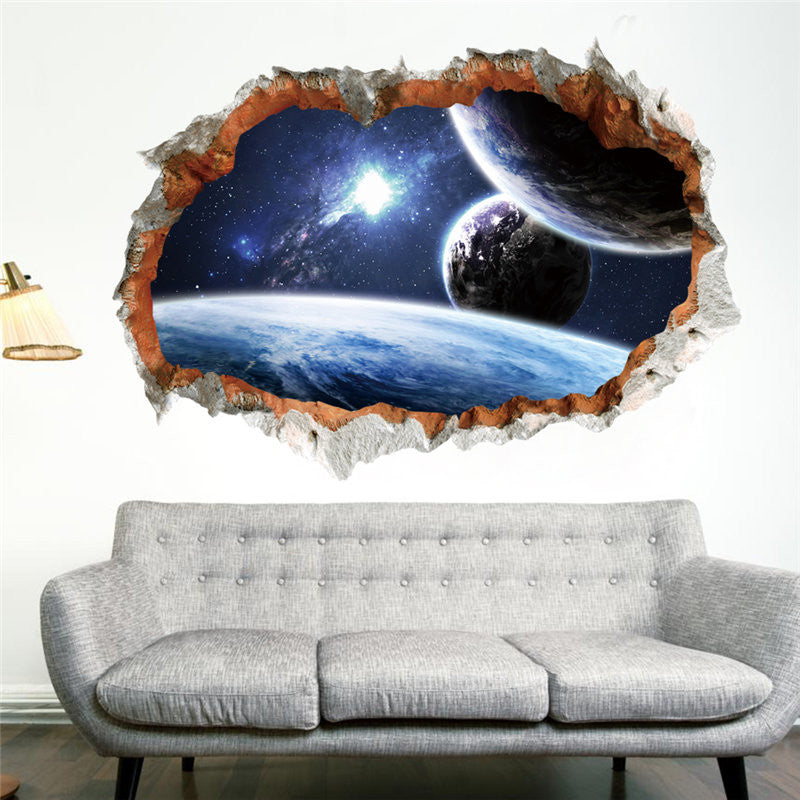 Galaxy Space Planet Stars/3D Window Poster Broken Wall Decorations/ Wall Sticker Decor
