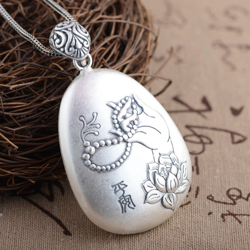 Thai Silver Pendant Heart Sutra Bless Peace Carving Flower Antique Style Buddha Pendant