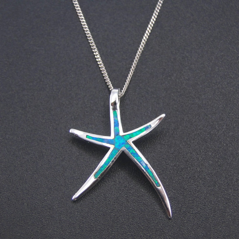 925 Sterling Silver Starfish Blue Fire Opal Pendant/Necklace-No Chain