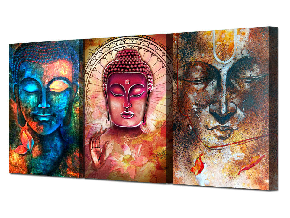 HD Printed Buddha Wall Art 3 Piece Canvas/ Feng Shui