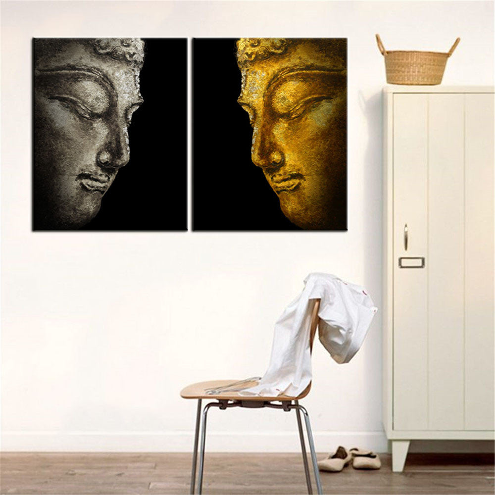 Buddha Profile Oil Painting Art Canvas/Wall Art Modern Living Room Decorative 2pcs