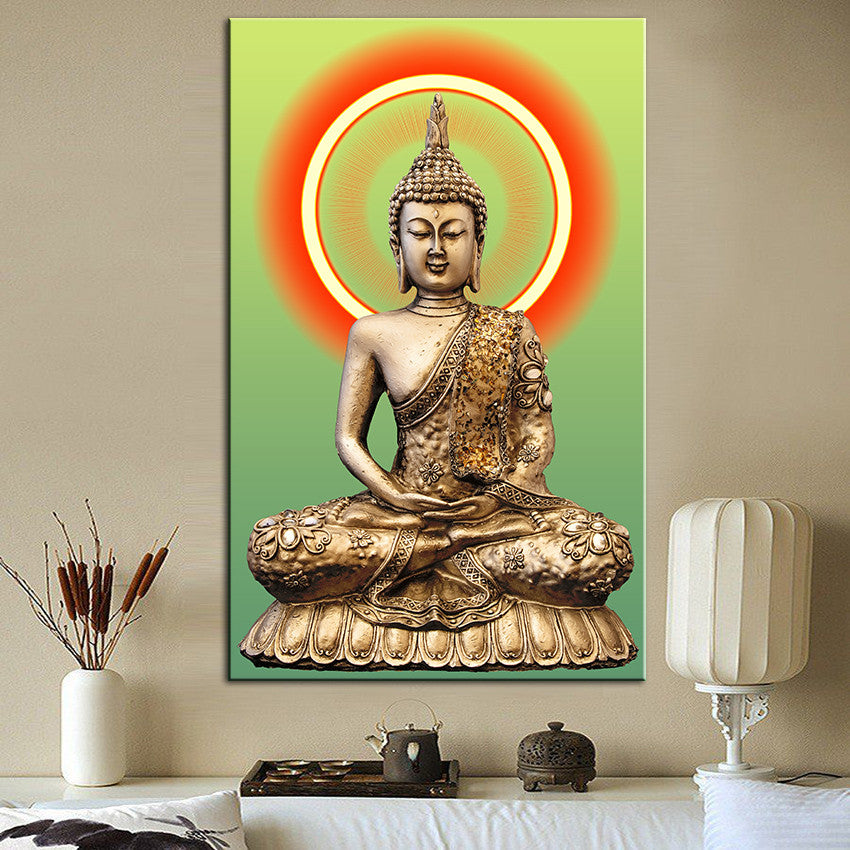 Golden Buddha Painting Living Room Wall Decor/Painting On Canvas Wall  Art No Frame Part 57