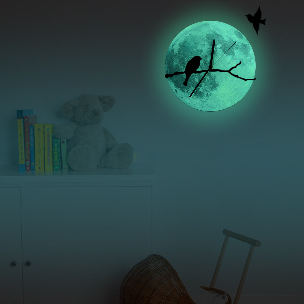Bird on Branches Glowing Moon Wall Clock