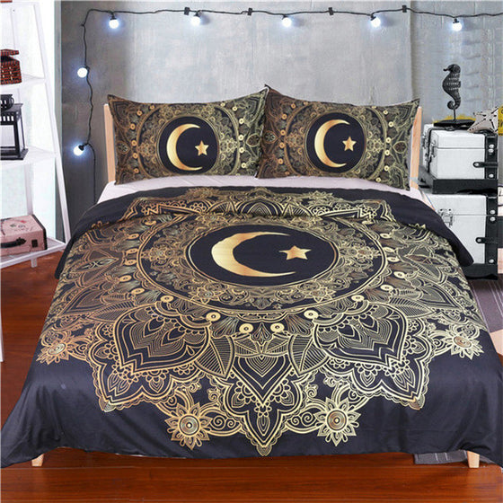 3 Pieces Gold Mandala Flowers Moon And Star Duvet Cover  Dark Blue(Navy) Bedding Set