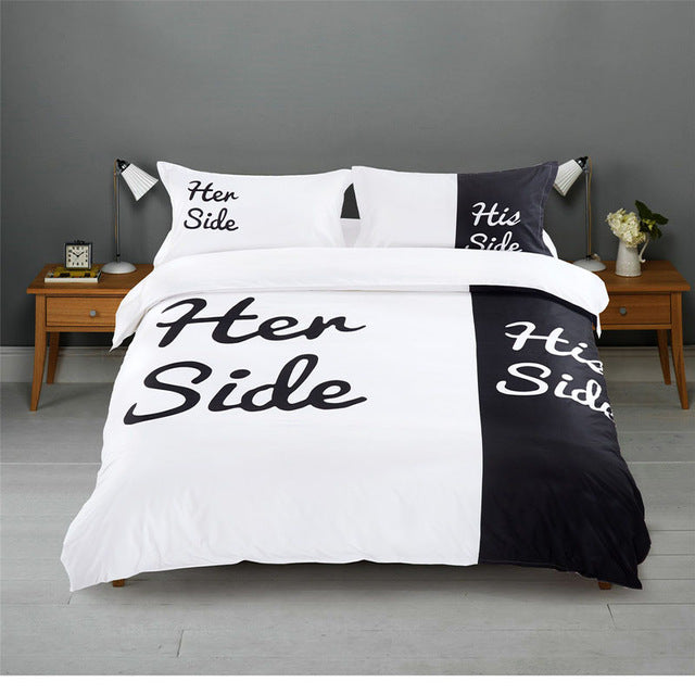Black & White Her Side His Side 2/3 Pieces Elegant Bedding Set