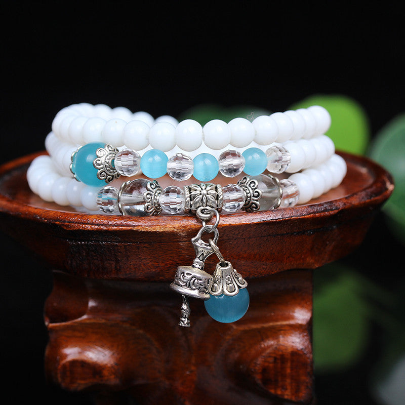 White Chalcedony Beaded  Stone Tibetan Buddhist 108 Prayer Beads Bell Bracelet for Meditation