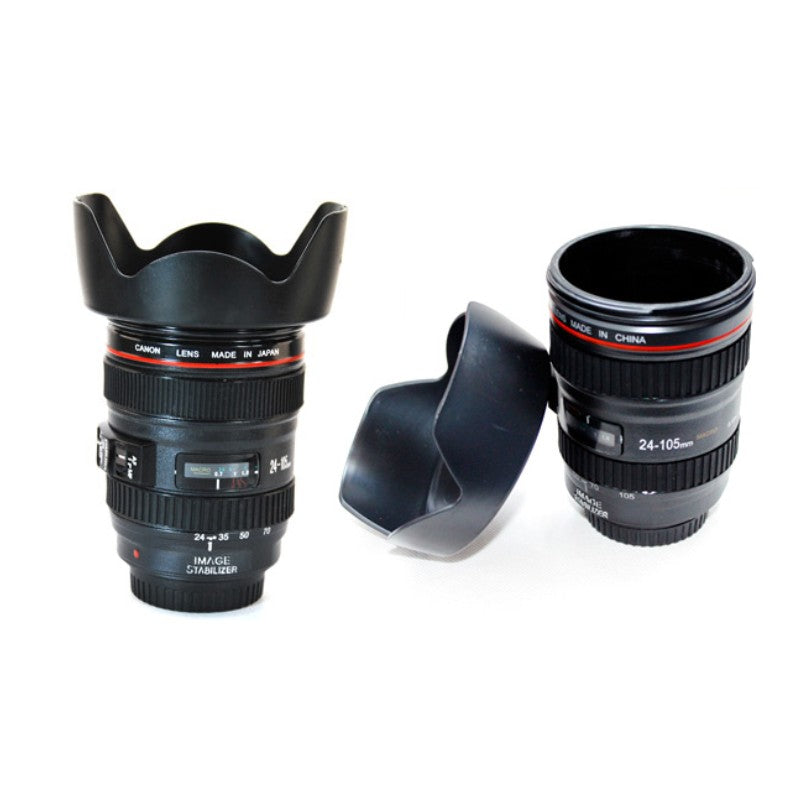 400ML Emulation Camera Lens Travel Coffee Mugs With Lid Tilt Vacuum Flask