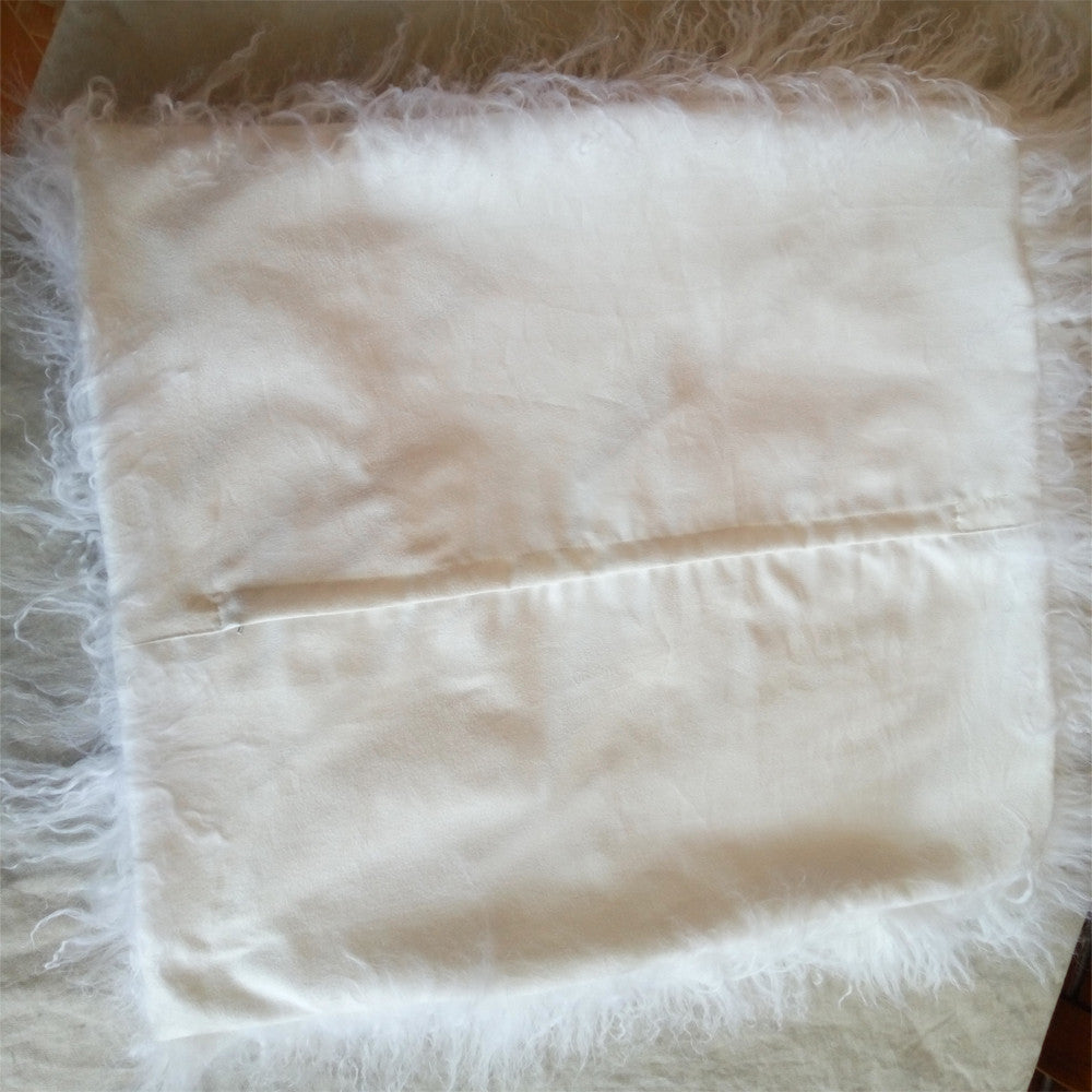 Natural White Mongolian Fur Cushion Cover/Decorative Pillows Fur Pillow Cover