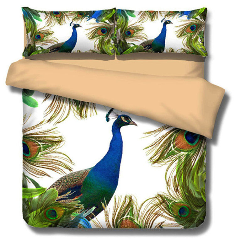 3D Painting Wolf & Peacock Bedding Set - 3 Piece