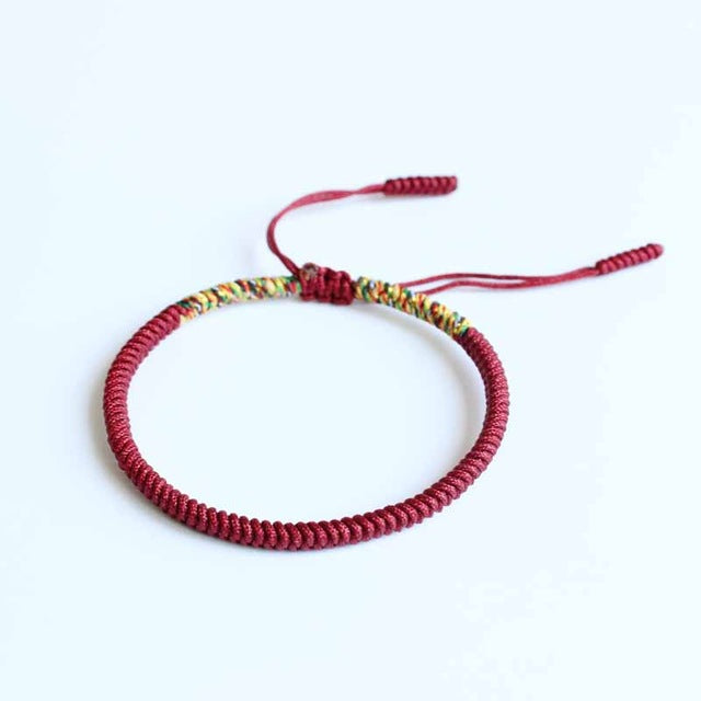 Handmade Multi Colour Tibetan Buddhist Bracelet/Eternal Knot Lucky Rope Bangle