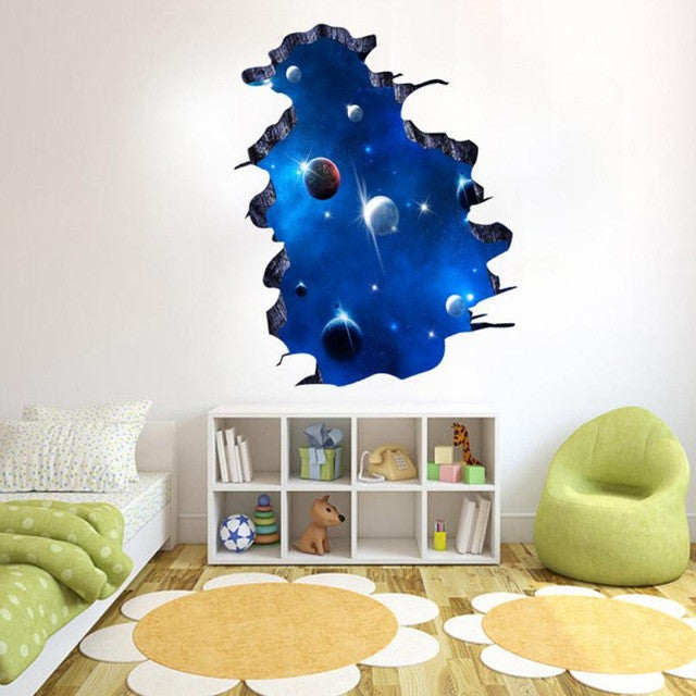 Outer Space/Planet Stars/3D Window Poster Broken Wall Sticker Decor