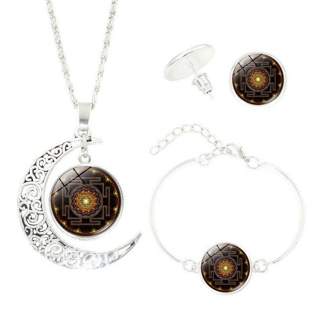 Sri Yantra Pendant Necklace Stud Earrings Set Bracelet/Half Moon Sacred Geometry Sri Yantra