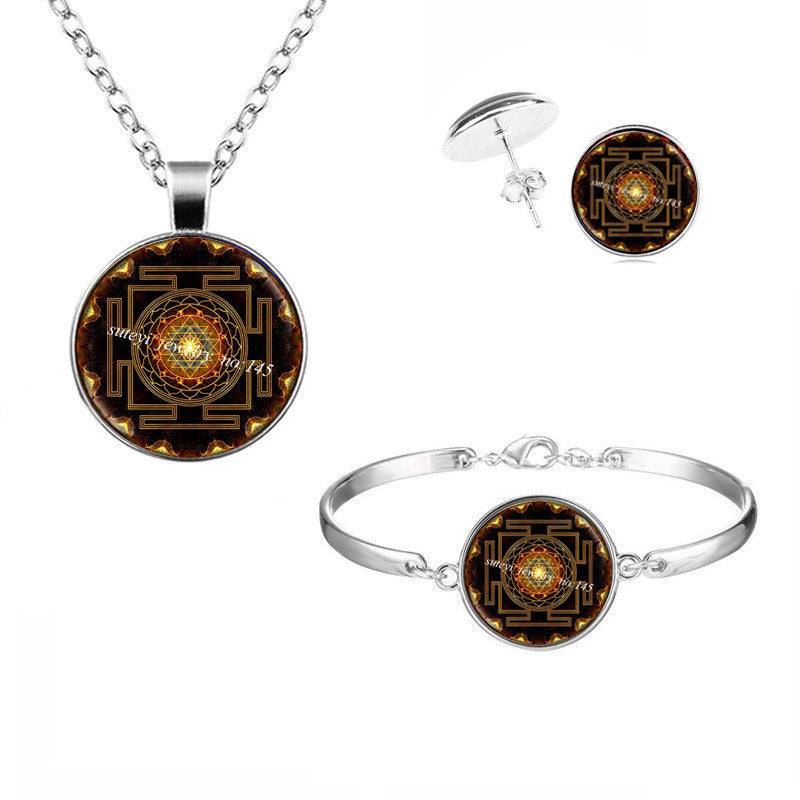 Sri Yantra Pendant Necklace Set Bracelet And Earring Sacred Geometry Sri Yantra