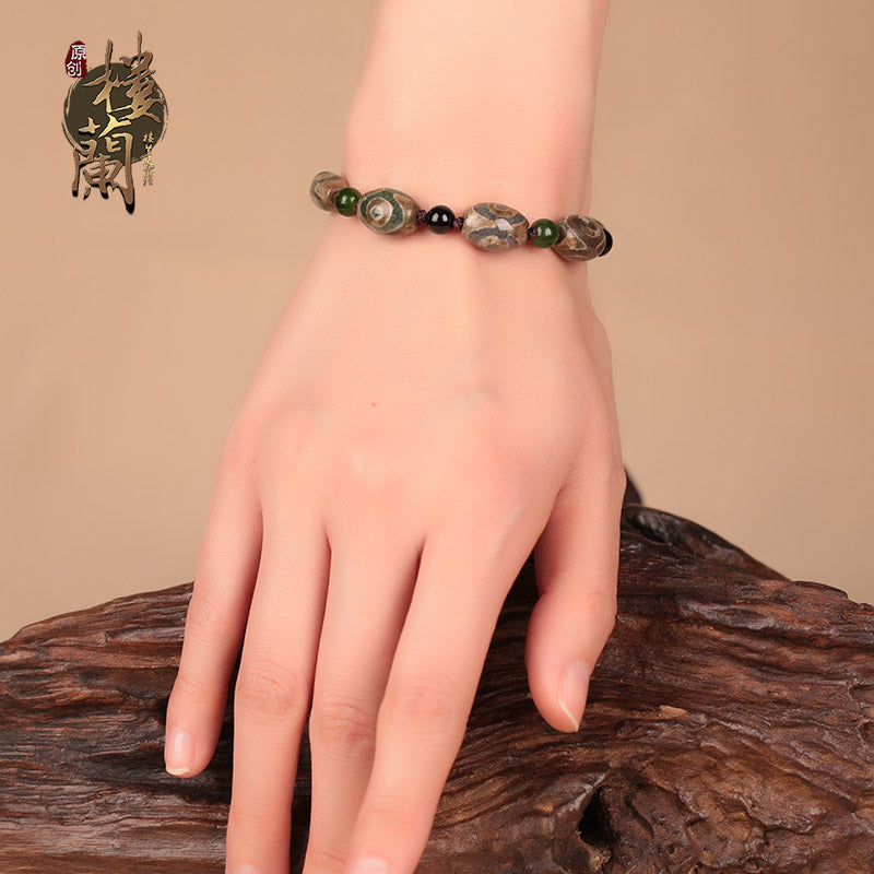 Original Nepal Three Eye Dzi Beads with Black Stone Spacer Bracelet Vintage Ethnic Style