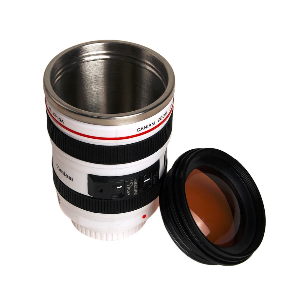 Camera Lens Mug/2 Colours Durable Stainless Steel Vacuum Flasks Travel Coffee Mug