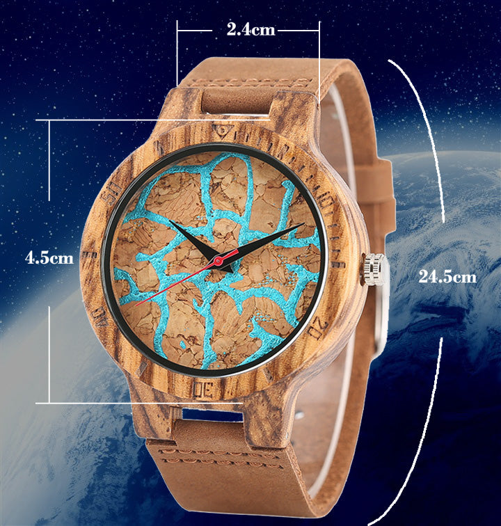 Man Fashion Bamboo Blue Lava Flow Pattern Wooden Watch