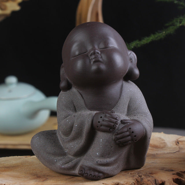 Hand Painted Ceramic Lovely Buddha Figurine/High Quality Sand Tea Pet