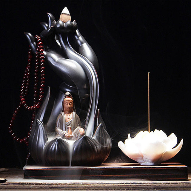 Buddha Hand Lotus Incense Burner/Ceramic Aromatherapy Smoke Back Flow Plate