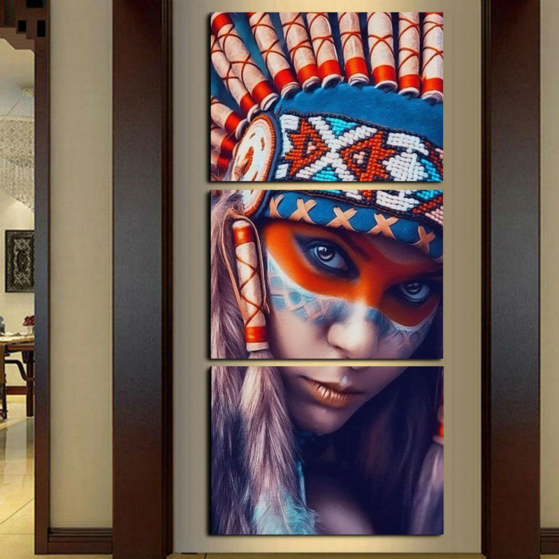 3 Panel Native American Indian Girl Feathered - Wall Art Canvas Paintings