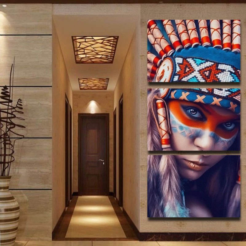 3 Panel Native American Indian Girl Feathered Wall Art