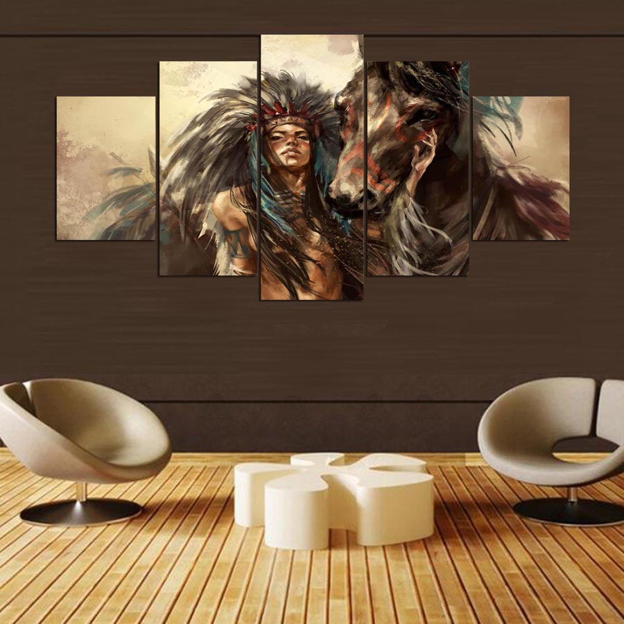 5 panel HD Native American Girl and Horse Art Print/Canvas Wall Art